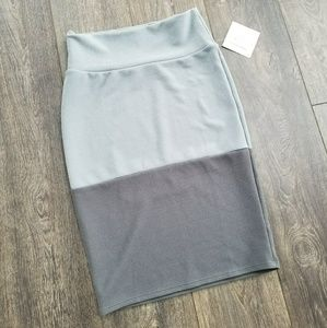 LuLaRoe Skirts - Lularoe Cassie Color Block grey blue skirt- small